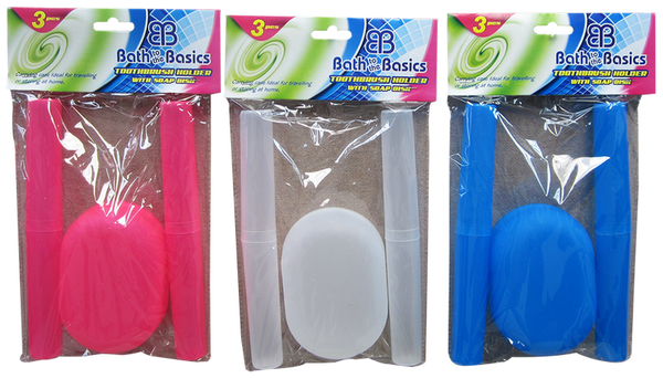 Toothbrush Holders With Soap Dish, 3-ct.