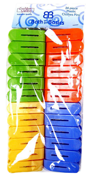 Plastic Colorful Large Clothes Pins, 24-ct.