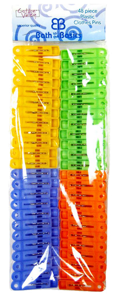 Plastic Colorful Clothes Pins, 48-ct.