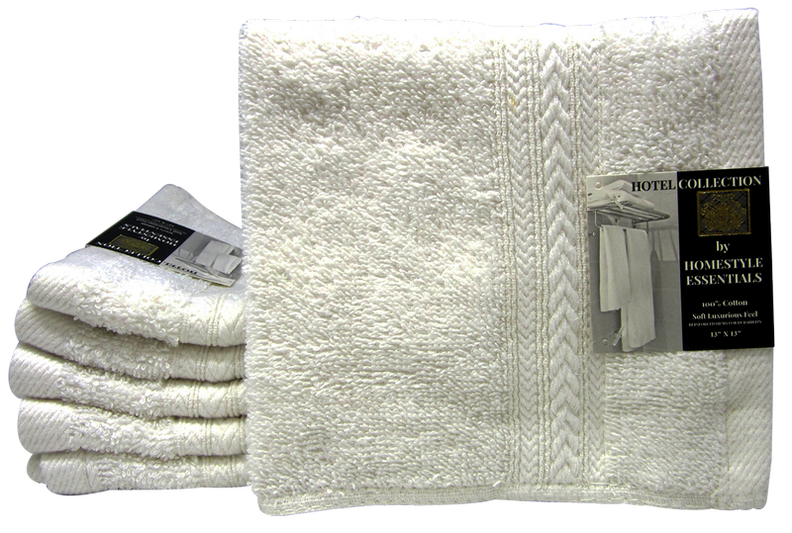 "Hotel Collection by Homestyle Essentials 13"" x 13"" Wash Cloth, White Color"