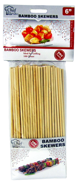 "6"" Bamboo Skewers, 100 ct."
