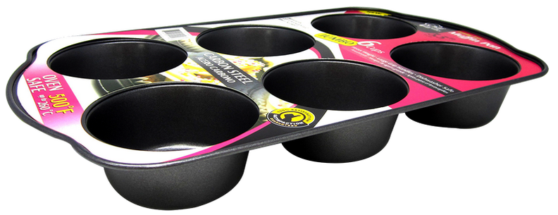 Chef Valley 6-Cup Muffin Baking Tray Pan, 3.5""