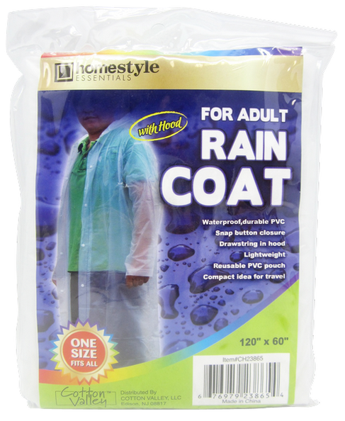 "Clear Rain Coat With Hood, Adult Size, 120"" x 60"", 1-ct."
