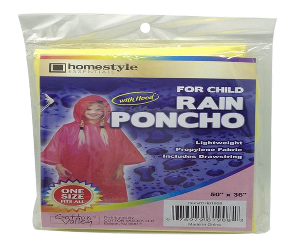 "Rain Poncho With Hood, For Child, 50"" x 36"", 1-ct."