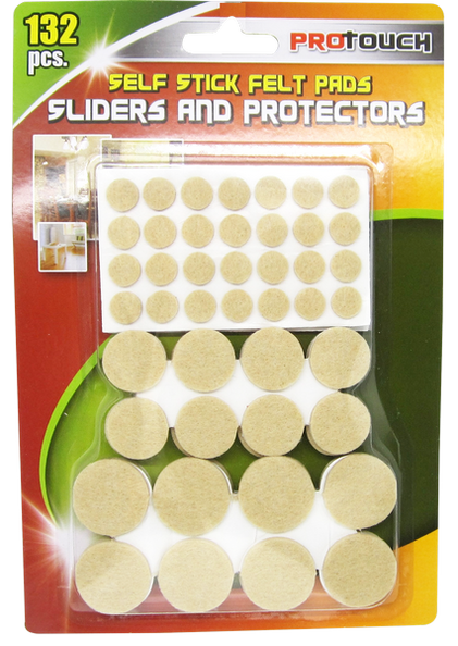 Self Stick Felt Pads, Assorted Sliders and Protectors, 132-ct.