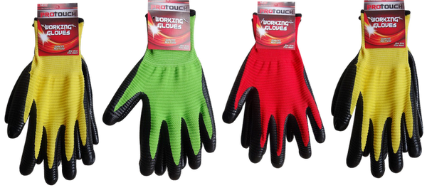 Working Gloves With Rubber Grips, 1 pair