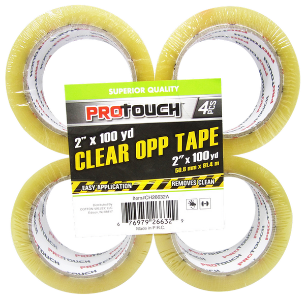 "ProTouch Clear OPP Tape, 2"" x 100 yards, 4-ct"