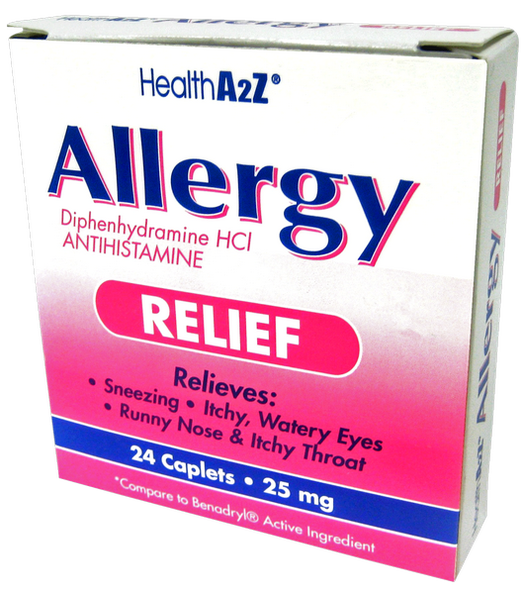 Health A2Z Allergy Relief 25 mg, 24 Caplets