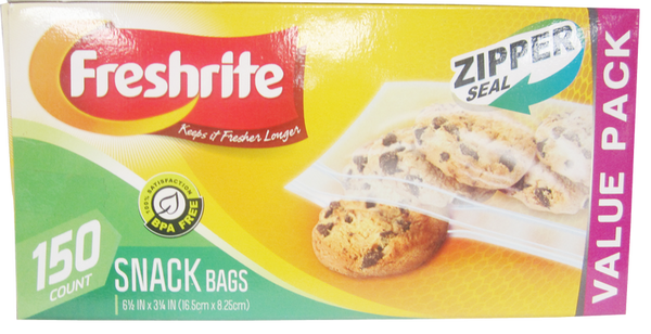 Freshrite Zipper Seal Snack Bags, 150 ct.