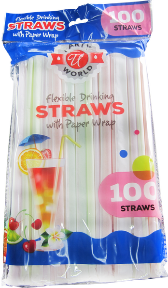 Flexible Drinking Straws with Paper Wrap, 100 ct.