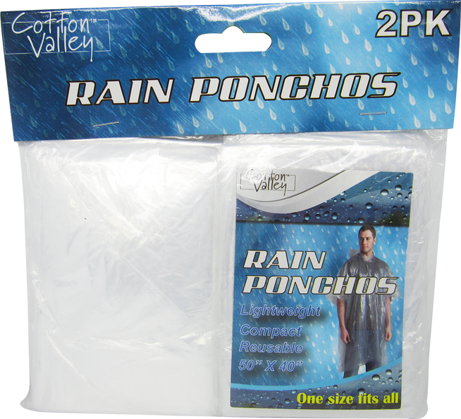 "Rain Ponchos, Clear, 50"" x 40"", 2-ct."