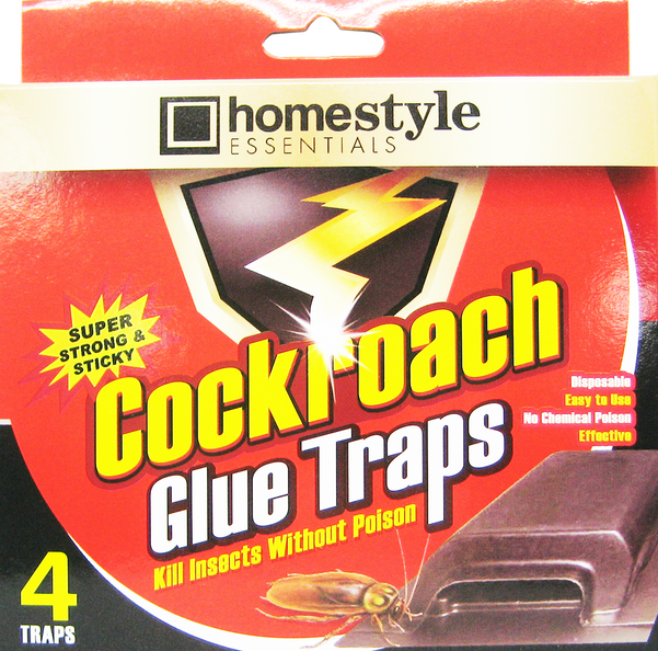 Homestyle Essentials Super Strong & Sticky Cockroach Glue Traps, 4-ct.
