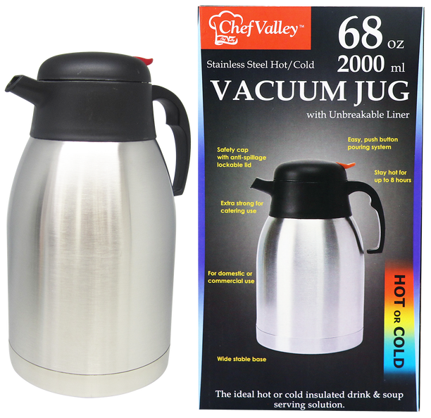 Stainless Steel Hot/Cold Vacuum Jug, 68 oz.