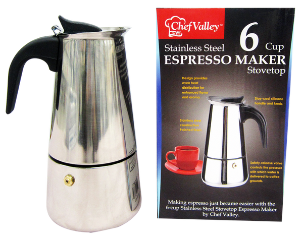 Stainless Steel Espresso Maker, 6-Cup