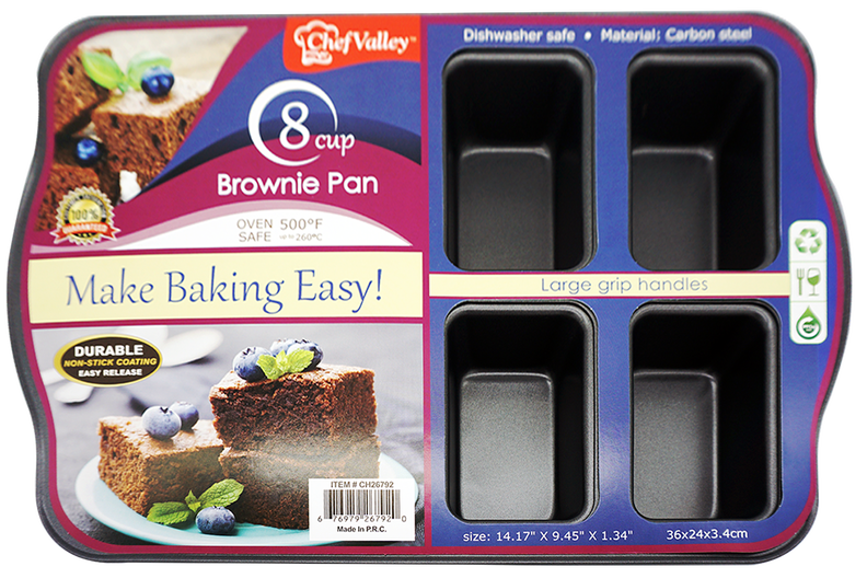 "Chef Valley 8-Cup Brownie Baking Tray Pan, 14.17"" x 9.45"" x 1.34"""
