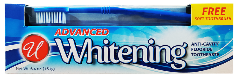 Advanced Whitening Toothpaste with Free Soft Toothbrush, 6.4 oz