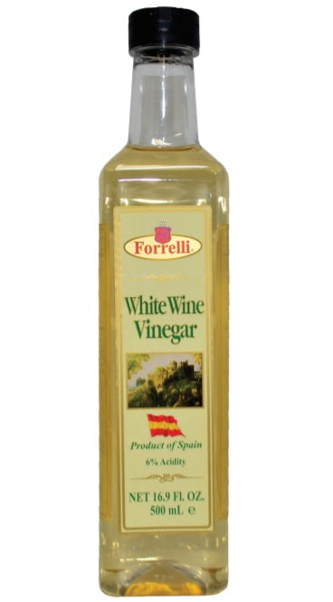 Forrelli White Wine Vinegar, Product of Spain, 6% Acidity, 16.9 Fl. Oz. (500ml)