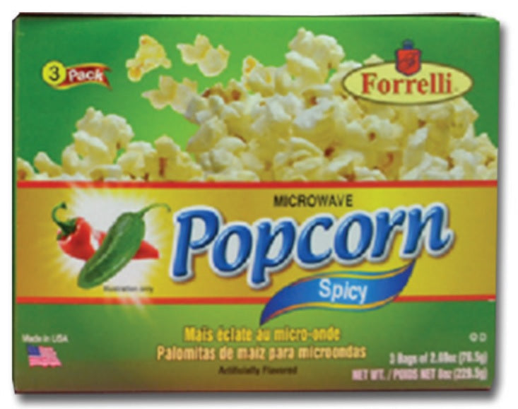 Forrelli Microwave Popcorn, Spicy Flavor, 3 Bags of 2.69oz