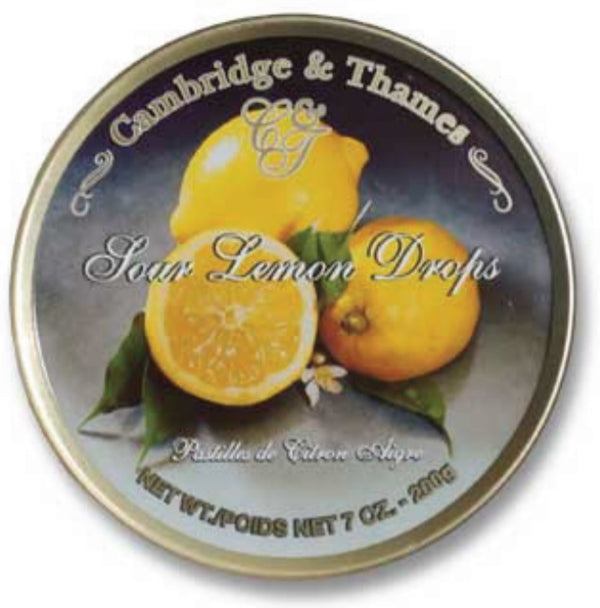 Cambridge & Thames Sour Lemon Drops, Made in Germany, 7 oz.