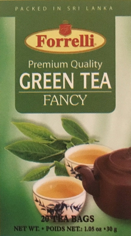 Forrelli Premium Quality Green Tea Fancy, Packed in Sri Lanka, 20 Count 1.06 oz.