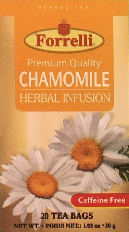 Forrelli Premium Quality Chamomile Herbal Fusion, Herbal Tea, Caffeine Free, 20 Count 1.06 oz.
