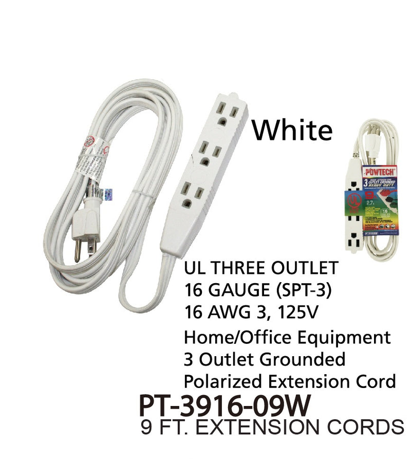 3 Outlet Grounded Heavy Duty Indoor Extension Cord, 9 ft.