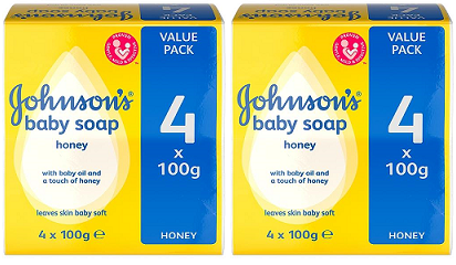 Johnson & Johnson's Baby Soap Honey, 4 ct. 100g (Pack of 2)