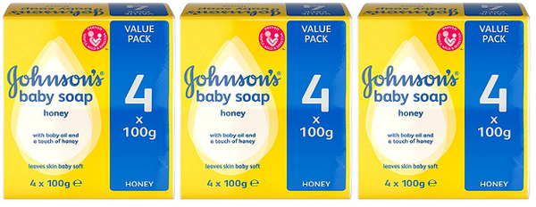 Johnson & Johnson's Baby Soap Honey, 4 ct. 100g (Pack of 3)