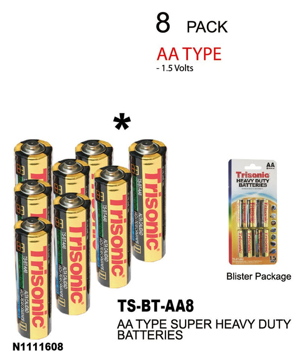 Trisonic Heavy Duty Batteries, AA, 8-ct.