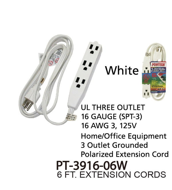 3 Outlet Grounded Heavy Duty Indoor Extension Cord, 6 ft.