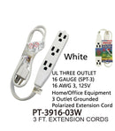 3 Outlet Grounded Heavy Duty Indoor Extension Cord, 3 ft.