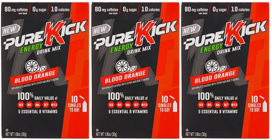 Pure Kick Blood Orange Energy Drink Mix, 0.63 oz (Pack of 3)