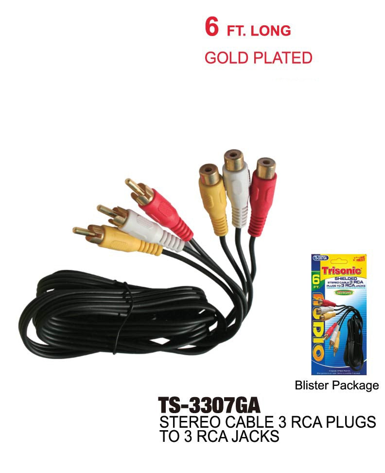 Shielded Stereo Cable 3 RCA Plugs to 3 RCA Jacks, 6 ft.