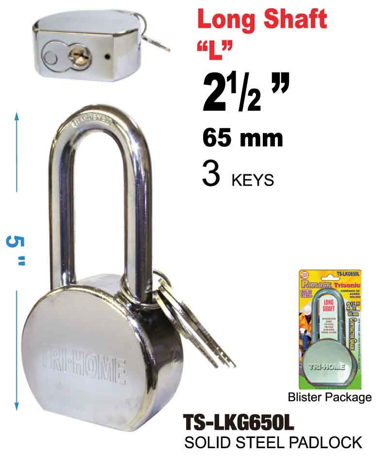 Solid Steel Long Padlock With Keys