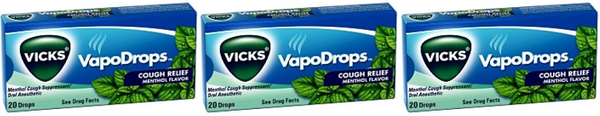 Vicks VapoDrops Cough Relief Menthol Flavor, 20 Drops (Pack of 3)