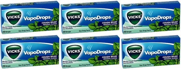 Vicks VapoDrops Cough Relief Menthol Flavor, 20 Drops (Pack of 6)