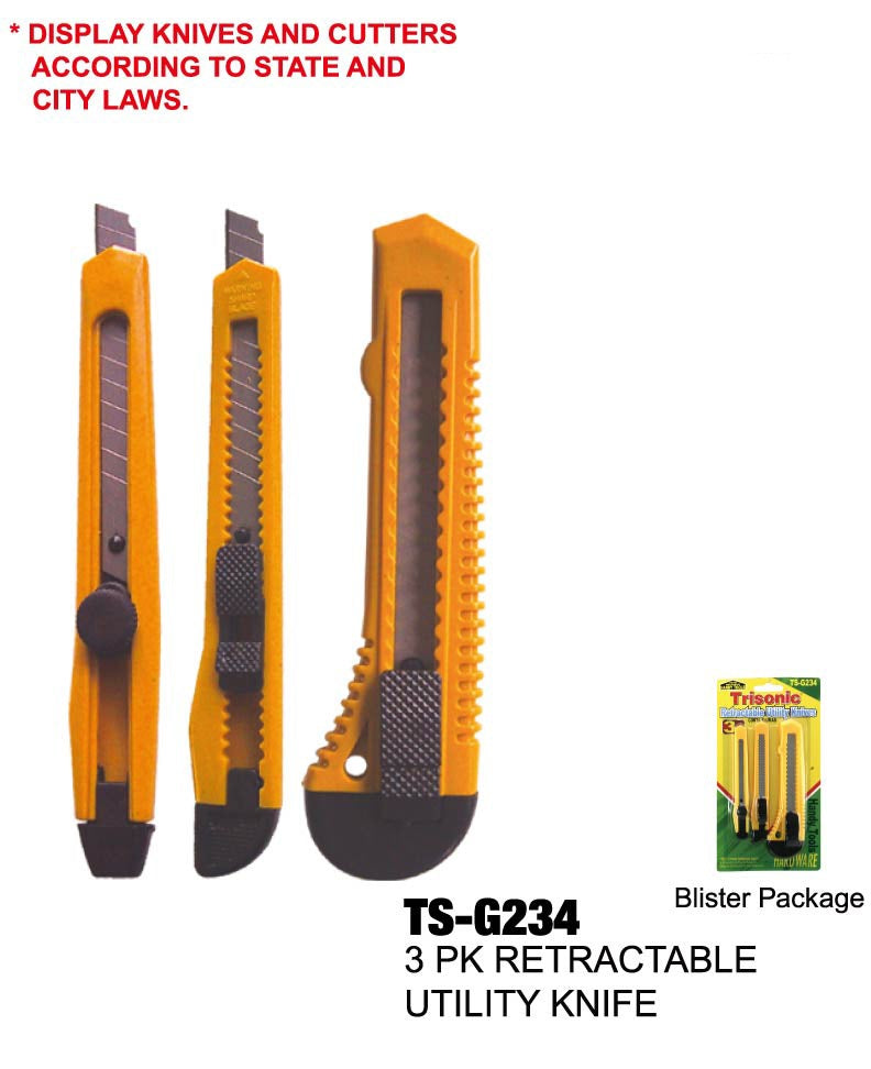 Retractable Utility Knives, 3-ct.