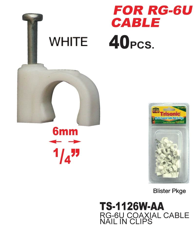 RG-6U Coaxial Cable Nail In Clips White, 40-ct.
