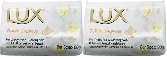 LUX White Impress Bar Soap, Japanese White Camellia Citrus Oil 80gm (Pack of 2)
