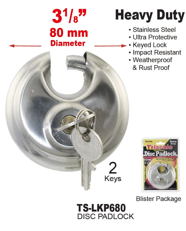 Utra Protective Disc Padlock With Keys, 80 mm