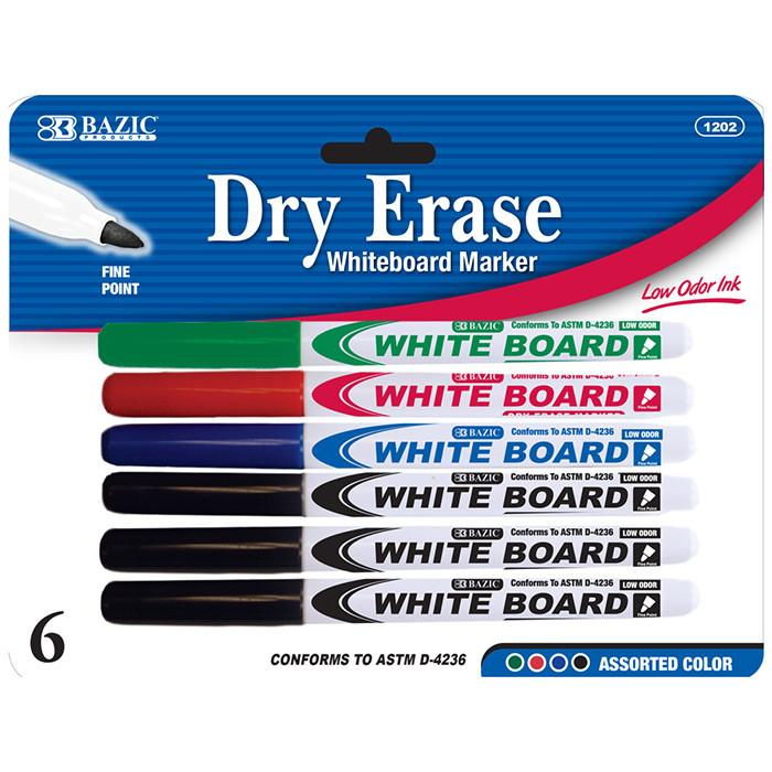 Assorted Color Fine Tip Dry-Erase Marker (6/Pack)