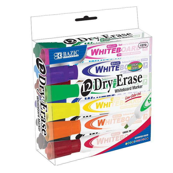 Bright Color Chisel Tip Dry-Erase Markers (12/Box)