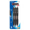Trio Triangle Black Oil-Gel Ink Retractable Pen (3/Pack)