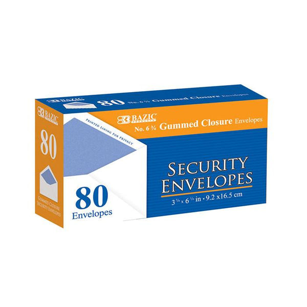 #6 3/4 Security Envelope W/ Gummed Closure (80/Pack)