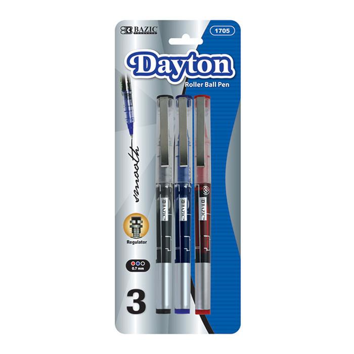 Dayton Asst. Color Rollerball Pen W/ Metal Clip (3/Pack)