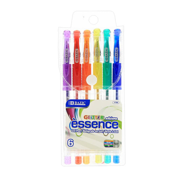 6 Glitter Color Essence Gel Pen W/ Cushion Grip