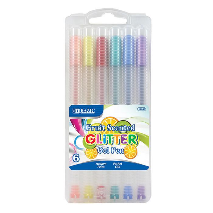 6 Fruit Scented Glitter Color Gel Pen With Case
