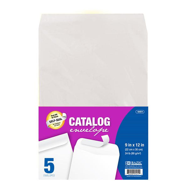 "9"" X 12"" Self-Seal White Catalog Envelope (5/Pack)"