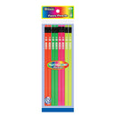 Fluorescent Wood Pencil W/ Eraser (8/Pack)