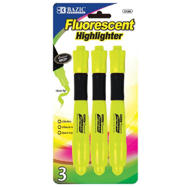 Yellow Desk Style Fluorescent Highlighters W/ Cushion Grip (3/Pack)